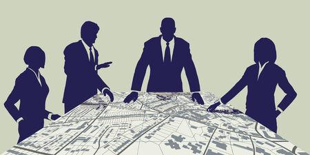 Mapa editable de personas reunidos alrededor de un mapa de la ciudad genéricos