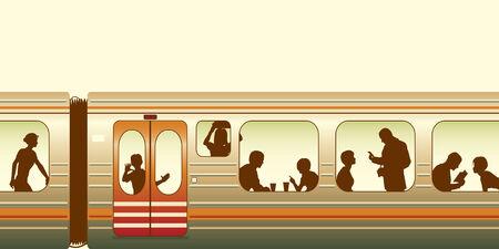 Editable illustration of passengers on a train