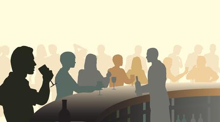 silhouettes de personnes dans un bar à vin avec tous les chiffres comme des objets distincts