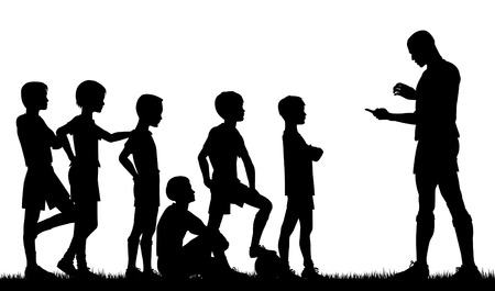 Edytowalne sylweta mężczyzny coaching piłkarski dzieci Ilustracje wektorowe