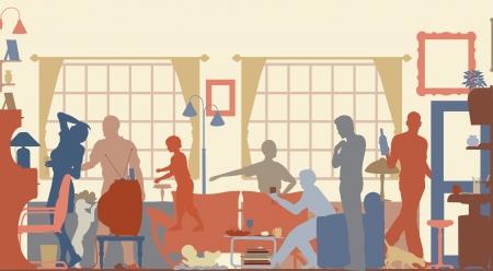 Siluetas de vectorial editable de una reunión en un salón familiar