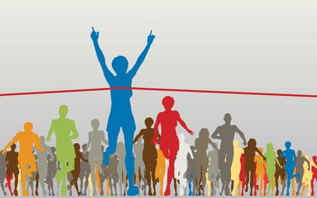 Illustrazione vettoriale modificabile di una donna a vincere una gara colorata