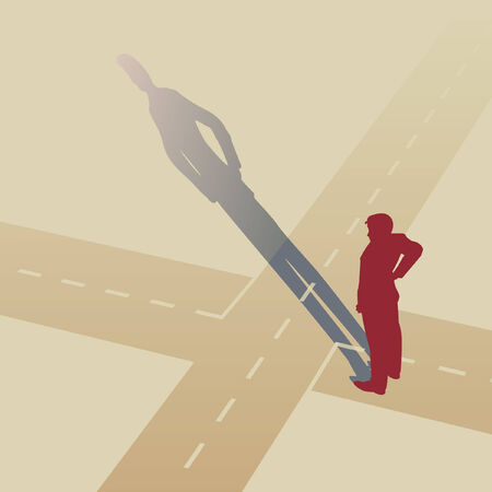 illustration of a man standing at a crossroads