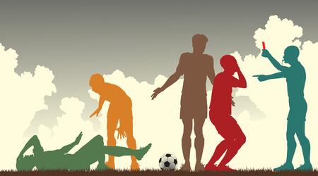 kleurrijke silhouetten van een scheidsrechter verzenden uit een voetballer Vector Illustratie