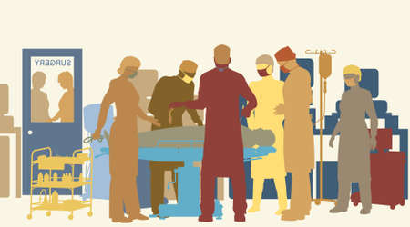 Colorful  illustration of surgery in an operating theater
