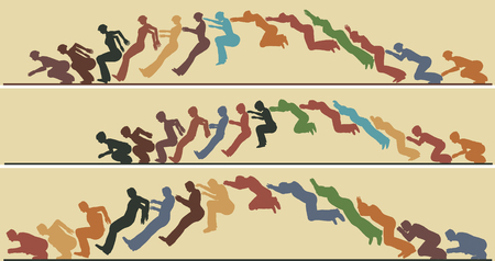 Editable vector silhouette sequences of a jumping man, woman and child