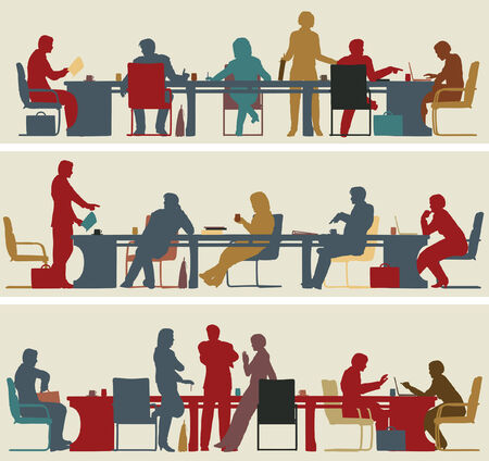 Conjunto de tres siluetas de primer plano vectorial editable de reuniones de negocios colorido