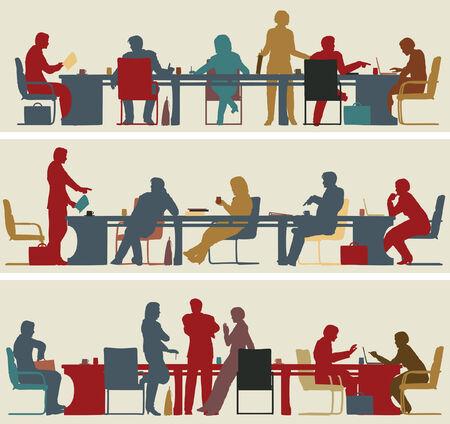 Set van drie bewerkbare vector voorgrond silhouetten van kleurrijke zakelijke bijeenkomsten