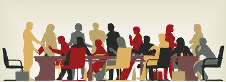 Kleurrijke bewerkbare vector voorgrond silhouet van mensen in een vergadering Vector Illustratie