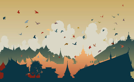 Colorful editable illustration of birds over a generic east asian city