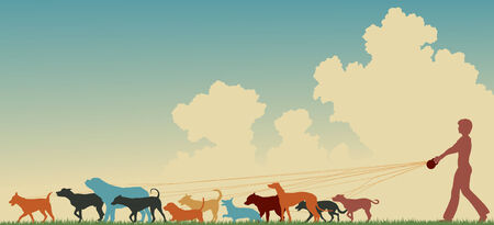 Colorful editable silhouette of a woman walking many dogs with copy space