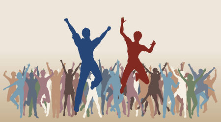 Colorful editable illustration of people jumping in celebration