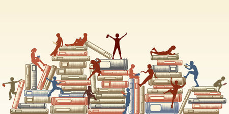 Editable illustration of children reading and clambering over piles of books