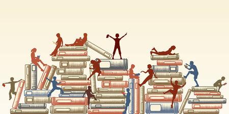 Bewerkbare illustratie van kinderen lezen en klauteren over stapels boeken