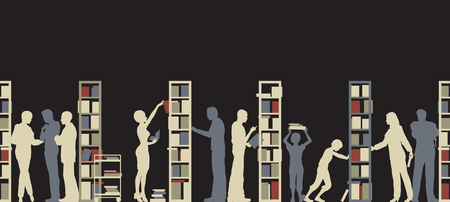 Editable silhouette of people in a library Vector Illustratie