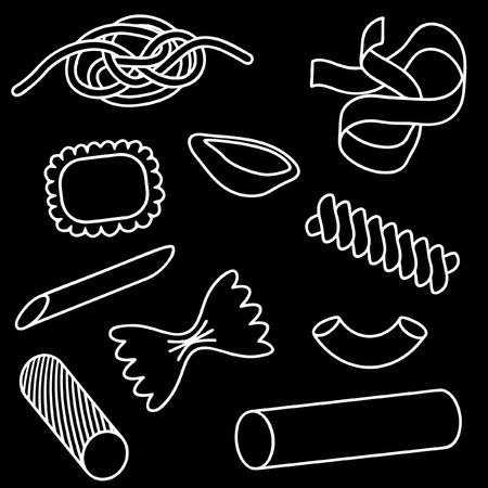 Set of editable icons of different pasta shapes