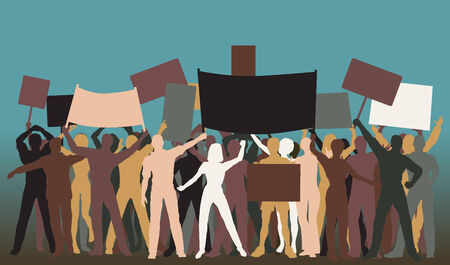 Editable silhouettes of protesters and banners 向量圖像