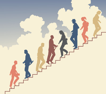 Colorful editable silhouette of people on stairs against the sky