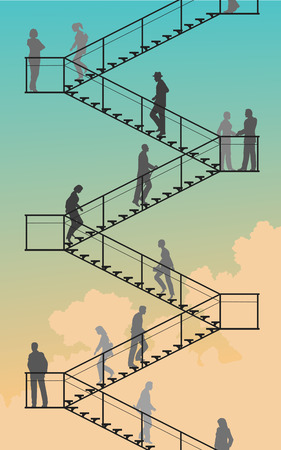 Editable silhouettes of people walking up and down flights of stairs with sky background 向量圖像