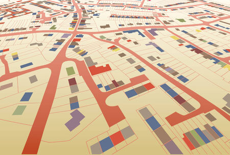 Angled view of a colorful editable housing map in a generic town