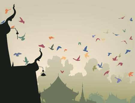 illustration of colorful pigeons flying to a Buddhist temple roof 向量圖像