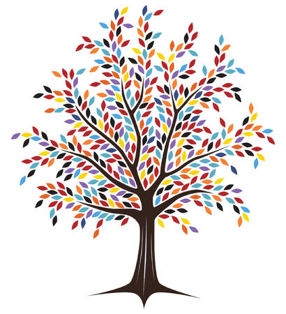 Editable tree design with colorful leaves