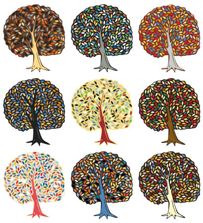 Set of color variations of an editable tree design Stock Vector - 8817731