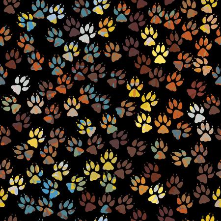 Bearbeitbare seamless Tile colorful Dog Paw Prints Vektorgrafik
