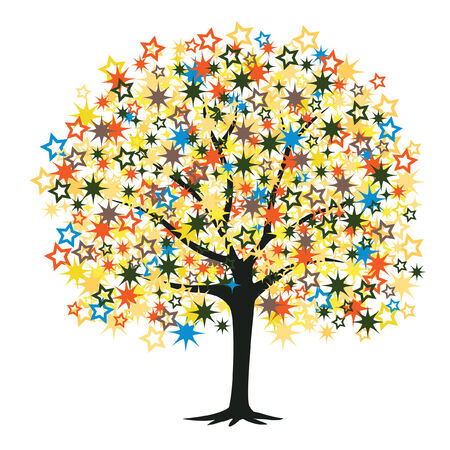Editable illustration of a tree with colorful stars as leaves