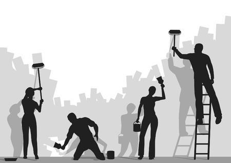 Wektorowego silhouettes ludzi malowanie puste Å›ciany z miejsca kopiowania