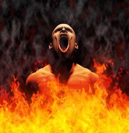 Procesa la imagen de un hombre gritando en las llamas del infierno