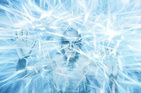 Man within block of frozen ice with eyes open