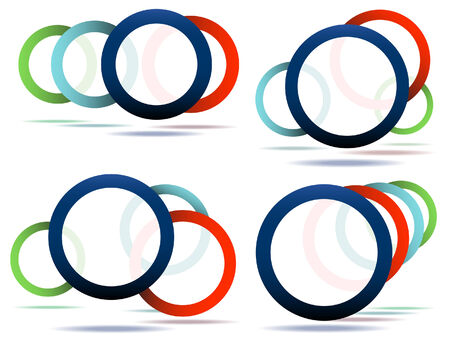 Set of four editable design elements made from circles