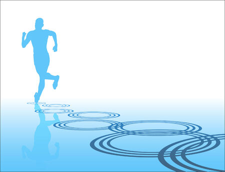 Editable silhouette of a man running away with reflection and ripples