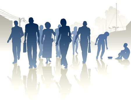 Editable silhouettes of a woman from a crowd giving to a beggar