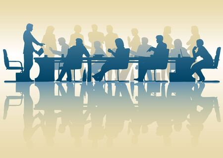 Editable silhouette of people in a meeting with reflection