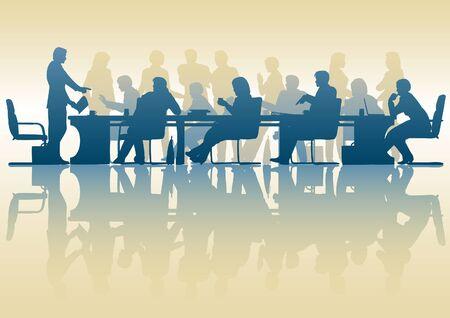 Modifiable silhouette de personnes dans une réunion avec la réflexion