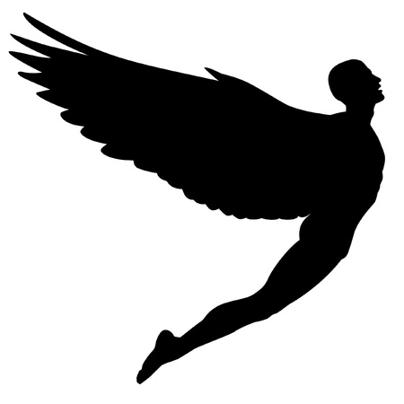 Editable vector silhouette of a man with wings flying