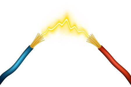 Editable vector illustration of an electrical spark between positive and negative wires made using gradient meshes