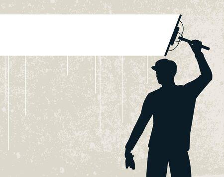 Bewerkbare vector silhouet van een man die een achtergrond stripe schoonmaken