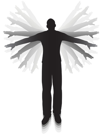 Editable vector silhouette of a man flapping his arms trying to fly