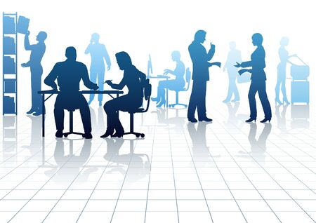 Editable silhouettes of people in a busy office with reflections