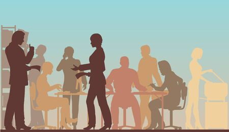 Editable silhouettes of people in a busy office