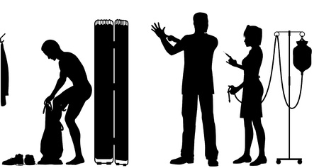 Editable silhouettes of a nurse and doctor about to exam a patient