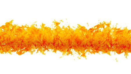 Rendered flames in a fiery line on a white background 版權商用圖片
