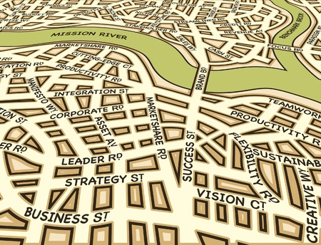 Editable street map of a generic city with business street names