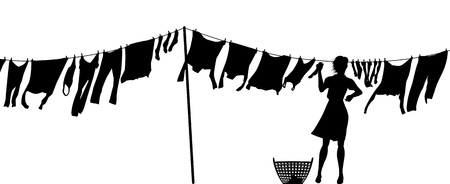 Editable silhouette of a woman hanging clothes on a washing line
