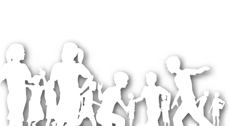 Editable cutout of children in a playground with background shadow made using a gradient mesh