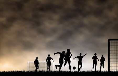 men playing football with sky made using a gradient mesh