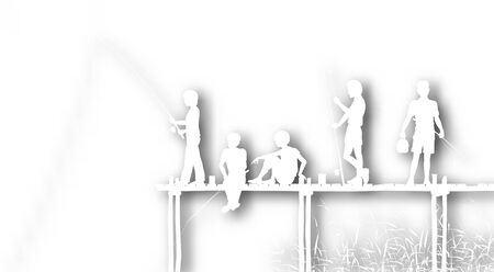 Editable vector cutout of children fishing from a wooden jetty with background shadow made using a gradient mesh